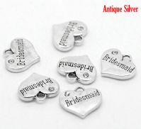 "5 Antique Silver Heart with Clear Rhinestone ""Bridesmaid"" Charm / Pendants 16x14mm"